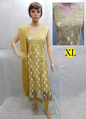 Golden Net Embroidery Designer Readymade Straight Salwar Suit at Zikimo