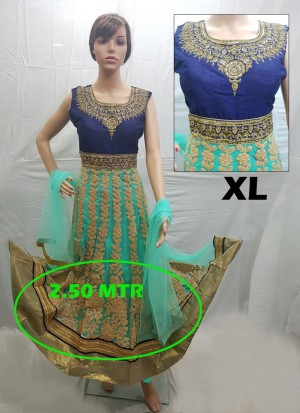 Blue And Turquoise Net Embroidery Designer Readymade Anarkali Salwar Suit at Zikimo