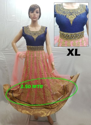 Blue And Pink Net Embroidery Designer Readymade Anarkali Salwar Suit at Zikimo