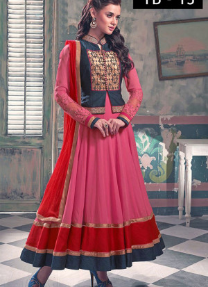 c063f00937 Pink Georgette Ankle Length Anarkali Suit With Short Jacket at Zikimo ...