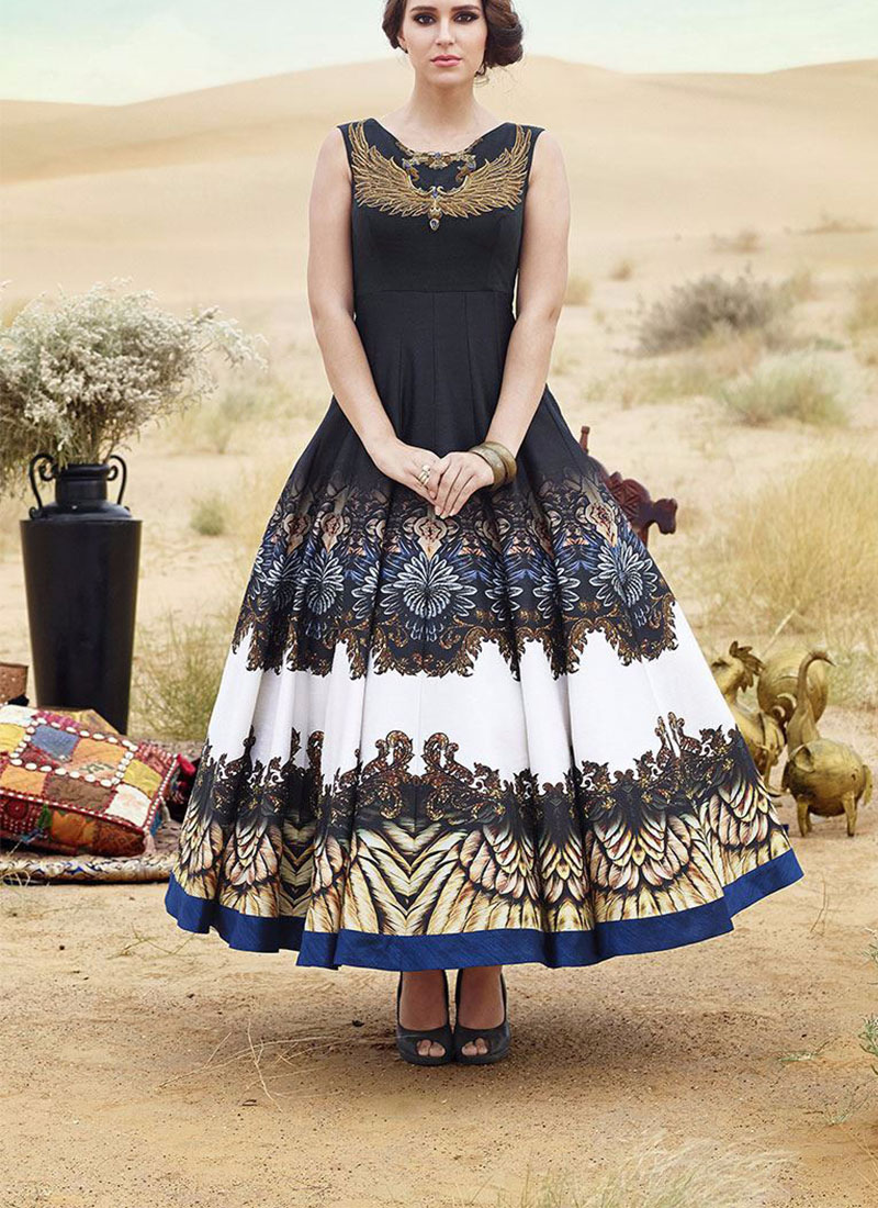 Black Bhagalpuri Printed Wedding Party Anarkali Suit at Zikimo