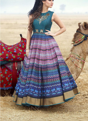 Rama Multocolor Bhagalpuri Printed Wedding Party Anarkali Suit at Zikimo
