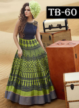 Green Multocolor Bhagalpuri Printed Wedding Party Anarkali Suit at Zikimo