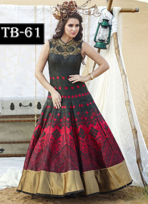 MaroonBlack Multocolor Bhagalpuri Printed Wedding Party Anarkali Suit at Zikimo