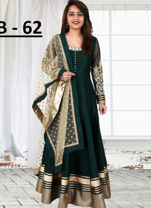 DarkGeen Bhagalpuri Printed Wedding Party Anarkali Suit at Zikimo