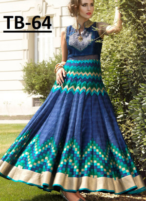 Blue Bhagalpuri Printed Wedding Party Anarkali Suit at Zikimo