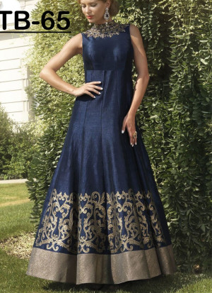 NavyBlue Bhagalpuri Printed Wedding Party Anarkali Suit at Zikimo