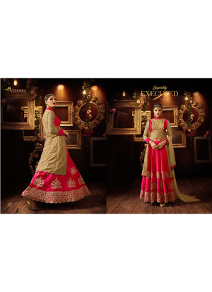 Biege Pink Net SIlk Embroidered Indian Wedding Party Wear Lehenga Choli at Zikimo