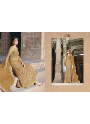 Biege1441 Net Ankle Length Anarkali Gown With Georgette Dupatta At Zikimo