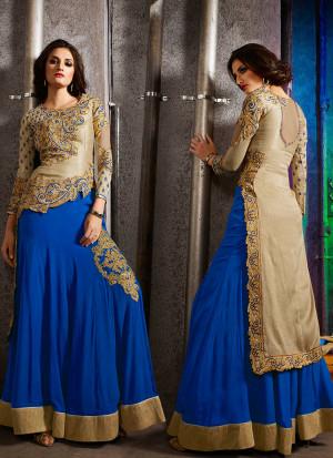 Blue Biege7002 Embroidered Wedding Party Wear Silk Lehenga Choli Suit at Zikimo