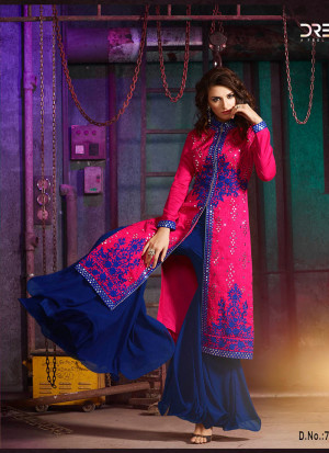 Blue Pink7004A Embroidered Wedding Party Wear Silk Plazzo Suit at Zikimo