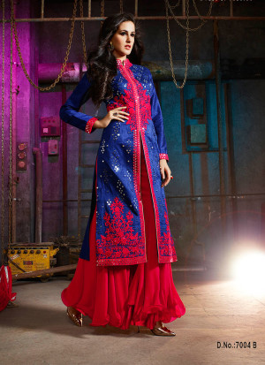Blue Magenta7004B Embroidered Wedding Party Wear Silk Plazzo Suit at Zikimo
