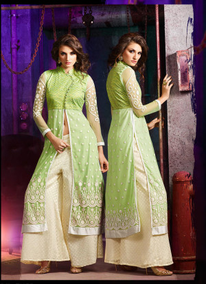 Green Cream7005B Embroidered Wedding Party Wear Silk Plazzo Suit at Zikimo