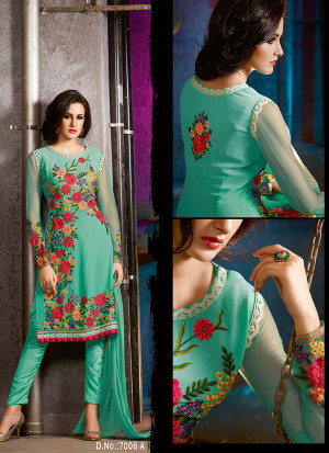 Blue7006A Embroidered Wedding Party Wear Georgette Suit at Zikimo