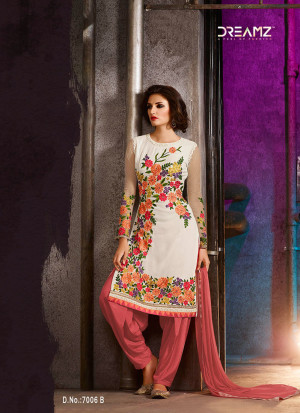 White Crimson7006B Embroidered Wedding Party Wear Georgette Suit at Zikimo