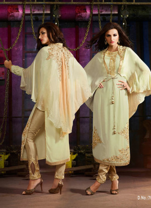 Cream7007 Embroidered Party Wear Georgette Batwing Cape Suit at Zikimo