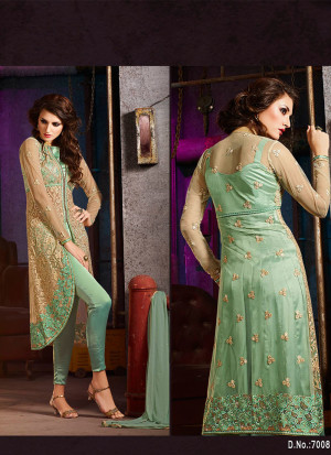SeaGreen7008A Embroidered Party Wear SilkyNet Suit at Zikimo