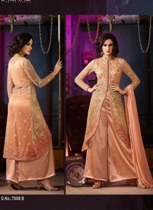 Peach7008B Embroidered Party Wear SilkyNet Suit at Zikimo