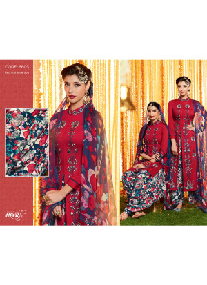 Heer6603 Maroon Multicolor Cotton Satin  Party Wear Printed Punjabi Salwar Kameez at Zikimo
