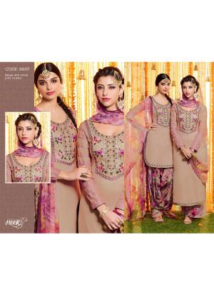 Heer6607 Rosybrown Cotton Satin  Party Wear Printed Punjabi Salwar Kameez at Zikimo
