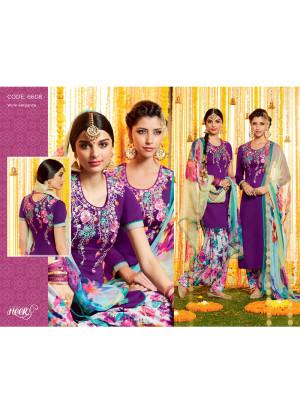 Heer6608 Blue Cotton Satin  Party Wear Printed Punjabi Salwar Kameez at Zikimo
