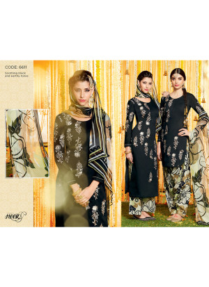 Heer6611 Black Cotton Satin  Party Wear Printed Punjabi Salwar Kameez at Zikimo