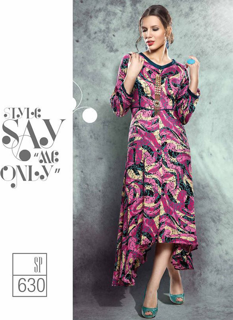 2cf4f31c1b0 Pink630 Western Style Party Wear Rayon Kurti at Zikimo ...