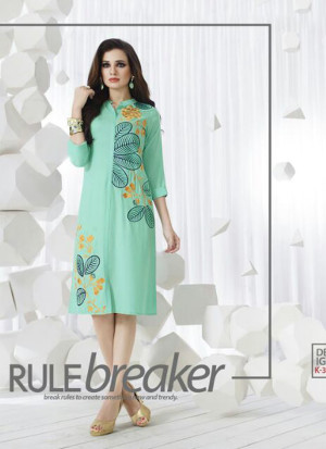 SeaGreenK305 Ocacsional Wear Rayon long Stitched Kurti At Zikimo
