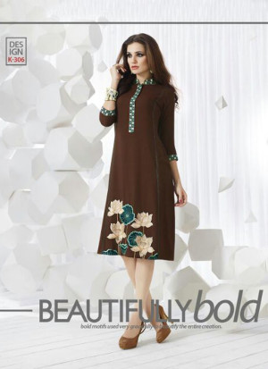 CoffeeBrownK306 Ocacsional Wear Rayon long Stitched Kurti At Zikimo