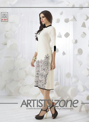 WhiteK307 Ocacsional Wear Rayon long Stitched Kurti At Zikimo