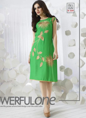 GreenK309 Ocacsional Wear Rayon long Stitched Kurti At Zikimo