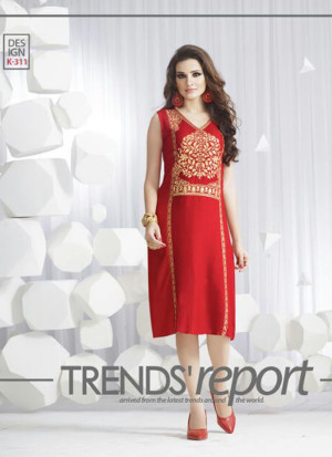 RedKK311 Ocacsional Wear Rayon long Stitched Kurti At Zikimo