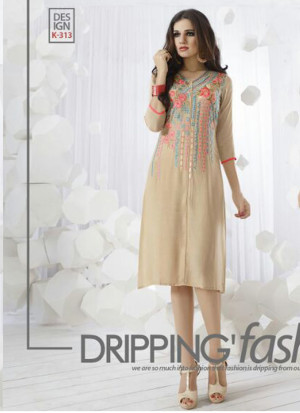 BeigeK313 Ocacsional Wear Rayon long Stitched Kurti At Zikimo