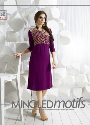 VioletK314 Ocacsional Wear Rayon long Stitched Kurti At Zikimo