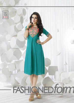 SkyBlueK315 Ocacsional Wear Rayon long Stitched Kurti At Zikimo
