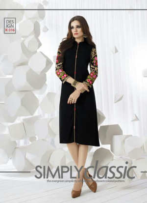 BlackK316 Ocacsional Wear Rayon long Stitched Kurti At Zikimo