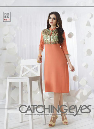 OrangeK317 Ocacsional Wear Rayon long Stitched Kurti At Zikimo