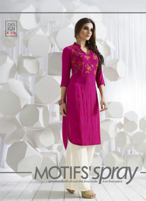 DeepPinkK318 Ocacsional Wear Rayon long Stitched Kurti At Zikimo