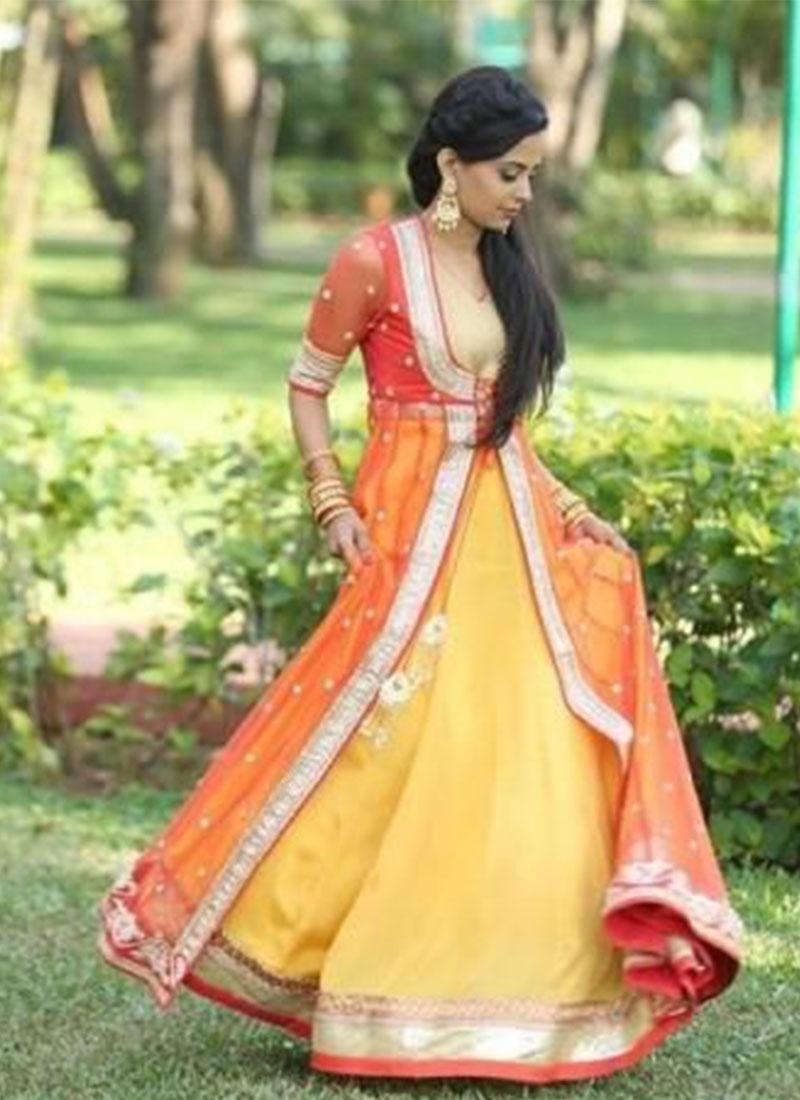 Raw Silk Net Yellow Orange Wedding Wear Jacket Style Lehenga ... 7cddc223a