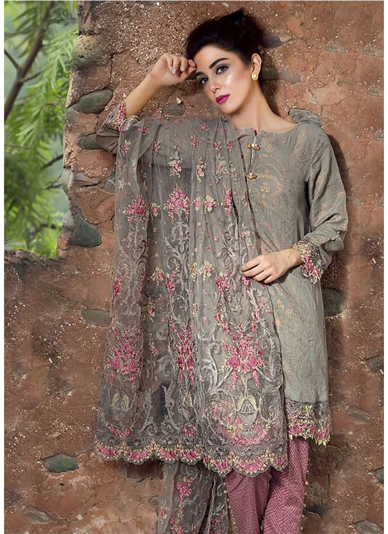 718c83b170 GreyPink7014 Printed Glace Cotton With Embroidered Pakistani Indian Suit at  Zikimo ...