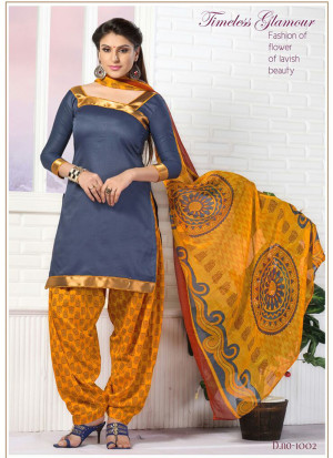 RoyalBlue and TurmericYellow1002 Glace Cotton Daily Wear Patiyala Suit at Zikimo