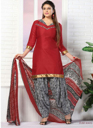 Red and Black1003 Glace Cotton Daily Wear Patiyala Suit at Zikimo