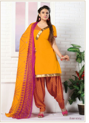 Yellow and Orange1004 Glace Cotton Daily Wear Patiyala Suit at Zikimo