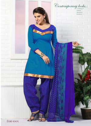 DarkSkyBlue and Blue1005 Glace Cotton Daily Wear Patiyala Suit at Zikimo