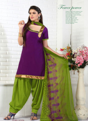 Purple and GreenYellow1009 Glace Cotton Daily Wear Patiyala Suit at Zikimo