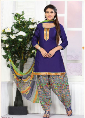 NavyBlue and Multicolor1010 Glace Cotton Daily Wear Patiyala Suit at Zikimo