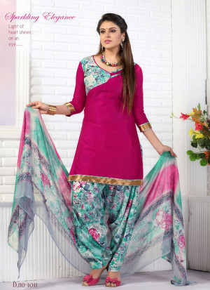 DarkPink and Multicolor1011 Glace Cotton Daily Wear Patiyala Suit at Zikimo