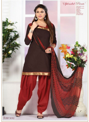 CoffeeBrown and Red1012 Glace Cotton Daily Wear Patiyala Suit at Zikimo