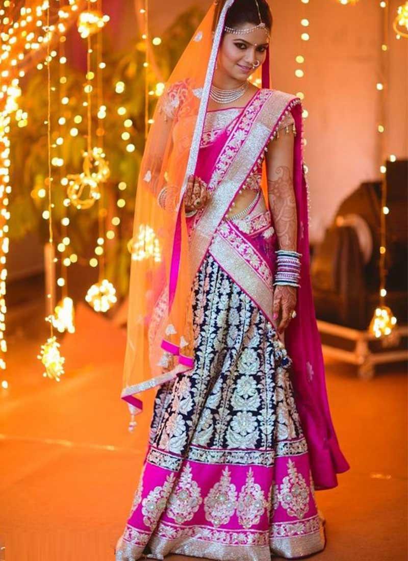 Georgette Pink Blue Embroidered Indian Bridal Lehenga Choli At Zikimo