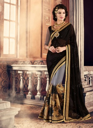BlackGrey385 Georgette Net Party Wear Indian Wedding Saree at Zikimo